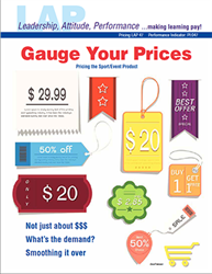 LAP-PI-047, Gauge Your Prices (Pricing the Sport/Event Product) (Download) PI:047, LAP-PI-007, Pricing, Sports Marketing