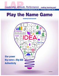 LAP-PM-140, Play the Name Game (Celebrity Endorsements) (Download) LAP-PM-013, Product Management, Branding, Sports Marketing, Promotion, Advertising