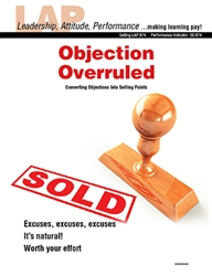 LAP-SE-874, Objection Overruled (Converting Objections Into Selling Points) (Download) SE:874, LAP-SE-100